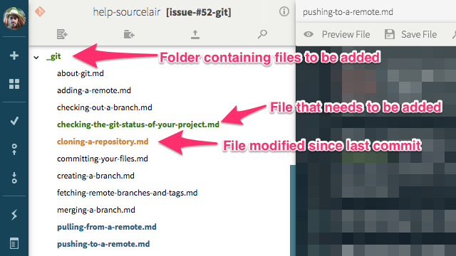 Git status in the file explorer