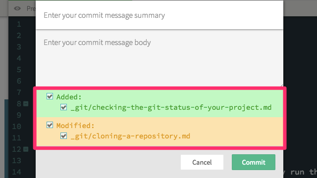 Git status in the commit prompt