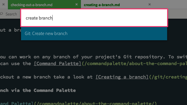 Git: Create new branch in the Command Palette